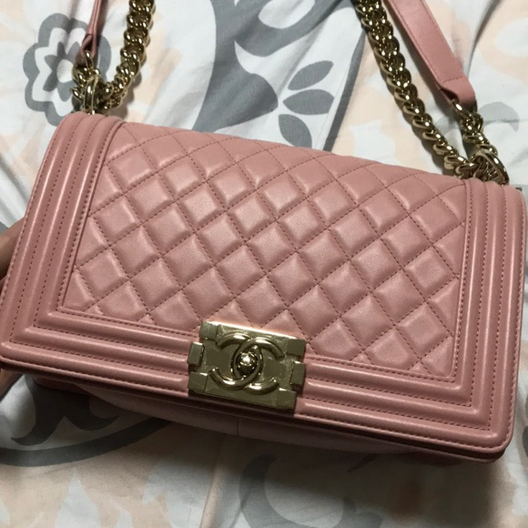 2eb20bf6957e CHANEL Bags | Pink Quilted Lambskin Medium Boy Bag | Poshmark